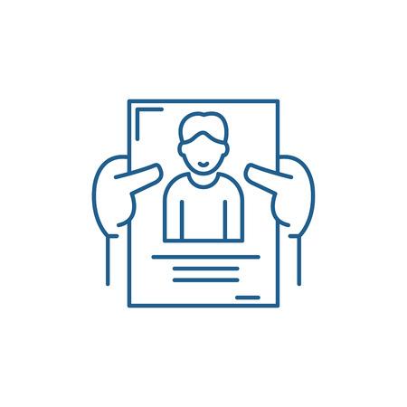 Illustration pour Personnel management line concept icon. Personnel management flat  vector website sign, outline symbol, illustration. - image libre de droit