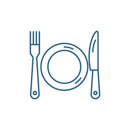 Vektor für Plate, fork and knife line concept icon. Plate, fork and knife flat  vector website sign, outline symbol, illustration. - Lizenzfreies Bild