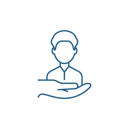 Ilustración de Return customers line concept icon. Return customers flat  vector website sign, outline symbol, illustration. - Imagen libre de derechos