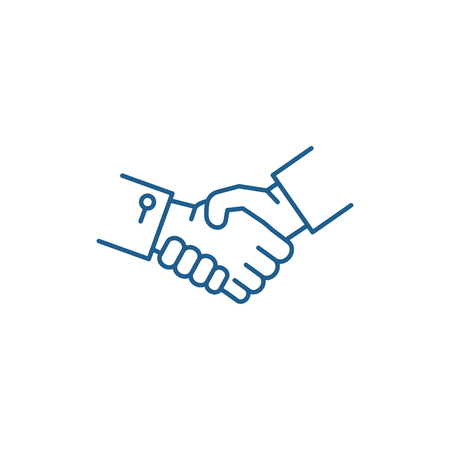 Ilustración de Shake hands line concept icon. Shake hands flat  vector website sign, outline symbol, illustration. - Imagen libre de derechos