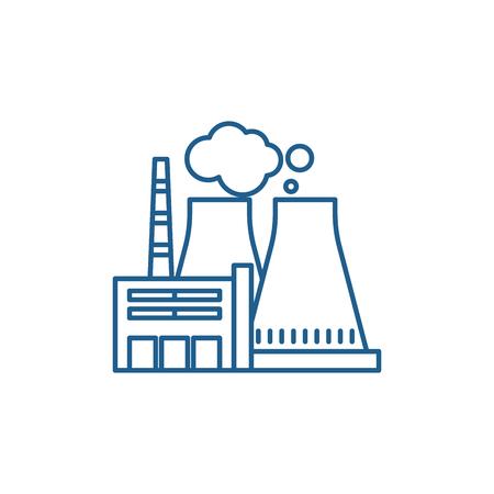 Illustration pour Thermal power plant line concept icon. Thermal power plant flat  vector website sign, outline symbol, illustration. - image libre de droit