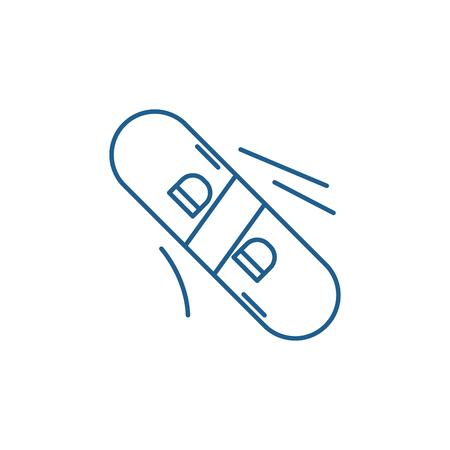 Winter skateboard line concept icon. Winter skateboard flat vector website sign, outline symbol, illustration.