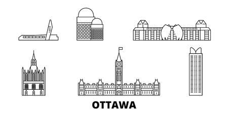 Illustration pour Canada, Ottawa line travel skyline set. Canada, Ottawa outline city vector panorama, illustration, travel sights, landmarks, streets. - image libre de droit