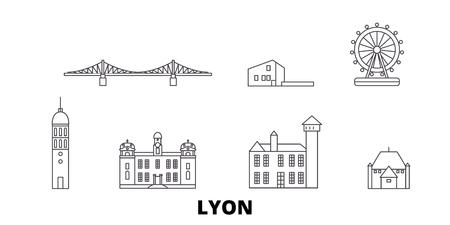 Illustration pour France, Lyon line travel skyline set. France, Lyon outline city vector panorama, illustration, travel sights, landmarks, streets. - image libre de droit