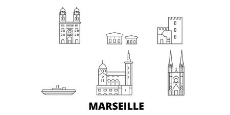 France, Marseille line travel skyline set. France, Marseille outline city vector panorama, illustration, travel sights, landmarks, streets.