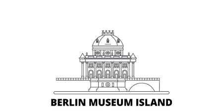Germany, Berlin, Museum Island line travel skyline set. Germany, Berlin, Museum Island outline city vector panorama, illustration, travel sights, landmarks, streets.