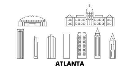 United States, Atlanta line travel skyline set. United States, Atlanta outline city vector panorama, illustration, travel sights, landmarks, streets.
