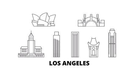 Illustration pour United States, Los Angeles line travel skyline set. United States, Los Angeles outline city vector panorama, illustration, travel sights, landmarks, streets. - image libre de droit