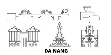 Vietnam, Da Nang line travel skyline set. Vietnam, Da Nang outline city vector panorama, illustration, travel sights, landmarks, streets.