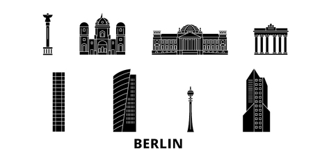 Germany, Berlin flat travel skyline set. Germany, Berlin black city vector panorama, illustration, travel sights, landmarks, streets.