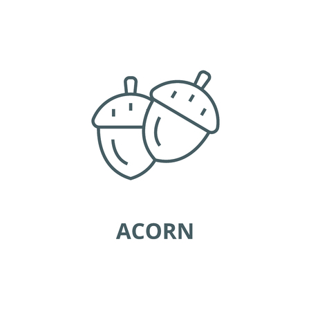 Illustration pour Acorn line icon, vector. Acorn outline sign, concept symbol, illustration - image libre de droit