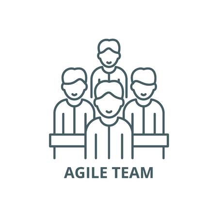 Illustration pour Agile team line icon, vector. Agile team outline sign, concept symbol, illustration - image libre de droit