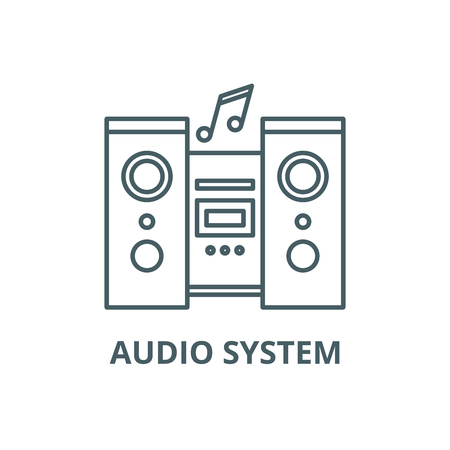 Illustration for Audio system line icon, vector. Audio system outline sign, concept symbol, illustration - Royalty Free Image