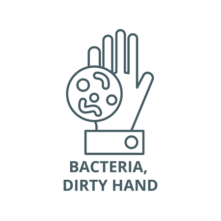 Illustration for Bacteria, dirty hand line icon, vector. Bacteria, dirty hand outline sign, concept symbol, illustration - Royalty Free Image