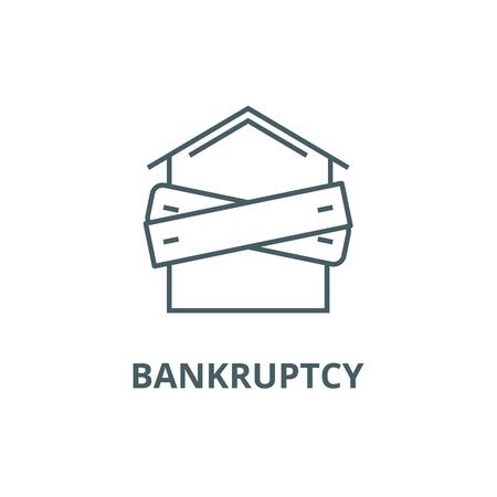 Illustration pour Bankruptcy,boarded up house line icon, vector. Bankruptcy,boarded up house outline sign, concept symbol, illustration - image libre de droit
