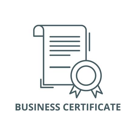 Illustration pour Business certificate line icon, vector. Business certificate outline sign, concept symbol, illustration - image libre de droit