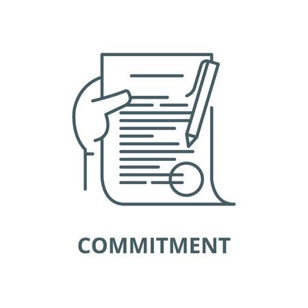 Illustration pour Commitment line icon, vector. Commitment outline sign, concept symbol, illustration - image libre de droit