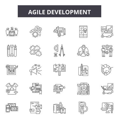 Illustration pour Agile development line icons, signs set, vector. Agile development outline concept illustration: agile,development,business,scrum,quality,software - image libre de droit