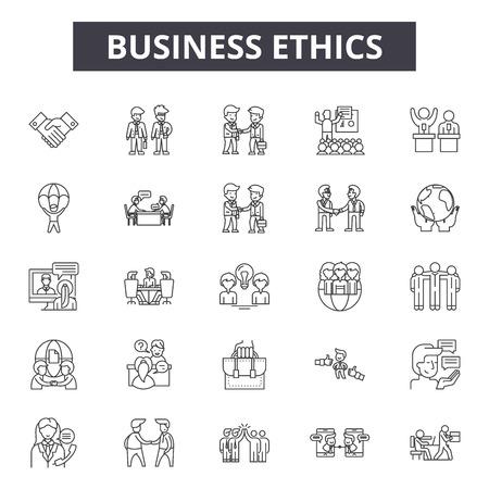 Illustration pour Business ethics line icons, signs set, vector. Business ethics outline concept illustration: business,company,corporate,customer,value,ethics,responsibility,culture,trust - image libre de droit