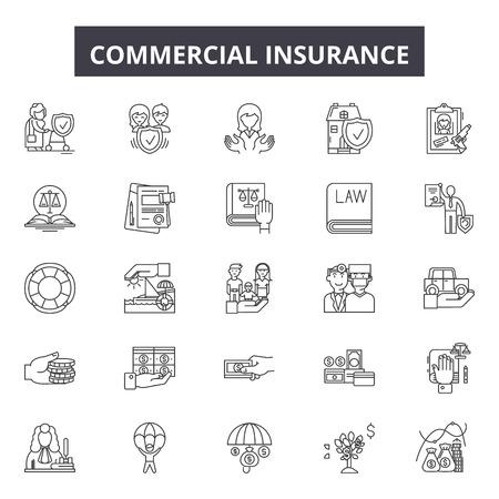 Illustration pour Commercial insurance line icons, signs set, vector. Commercial insurance outline concept illustration: insurance,business,commercial,property,protection,vehicle - image libre de droit