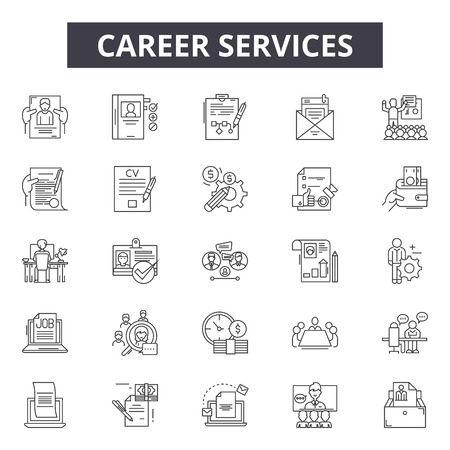Illustration pour Career line icons, signs set, vector. Career outline concept illustration: business,career,manager,businessman,job,person,people - image libre de droit