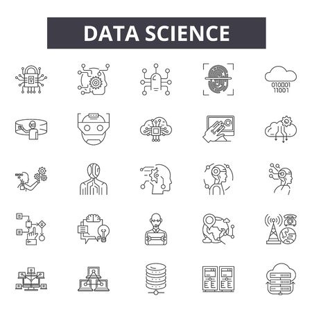 Ilustración de Data science line icons, signs set, vector. Data science outline concept illustration: science,technology,data,information,graphic,web - Imagen libre de derechos
