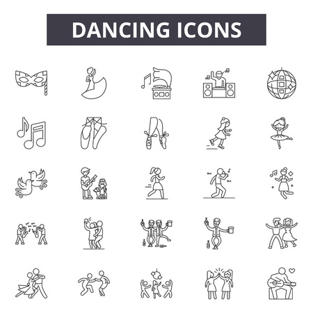 Illustration for Dancing line icons, signs set, vector. Dancing outline concept illustration: dance,silhouette,party,music,woman - Royalty Free Image
