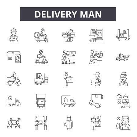Illustration pour Delivery man line icons, signs set, vector. Delivery man outline concept illustration: man,delivery,service,box,courier,worker,package,job - image libre de droit