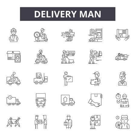 Ilustración de Delivery man line icons, signs set, vector. Delivery man outline concept illustration: man,delivery,service,box,courier,worker,package,job - Imagen libre de derechos