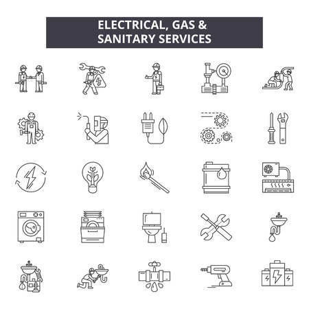 Electrical gas & sanitary services line icons, signs set, vector. Electrical gas & sanitary services outline concept illustration: isolated,service,fuel,heat,gas,electric,sanitary,home,industrial