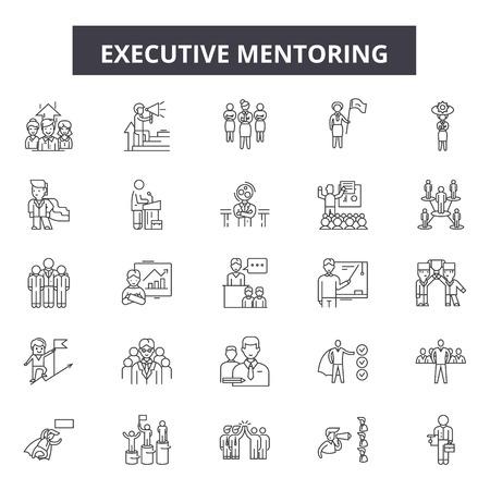 Ilustración de Executive mentoring line icons, signs set, vector. Executive mentoring outline concept illustration: mentor,executive,people,business,education,leadership,businessman,manager - Imagen libre de derechos
