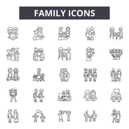 Illustration for Family line icons, signs set, vector. Family outline concept illustration: father,mother,people,child,woman,together,family - Royalty Free Image