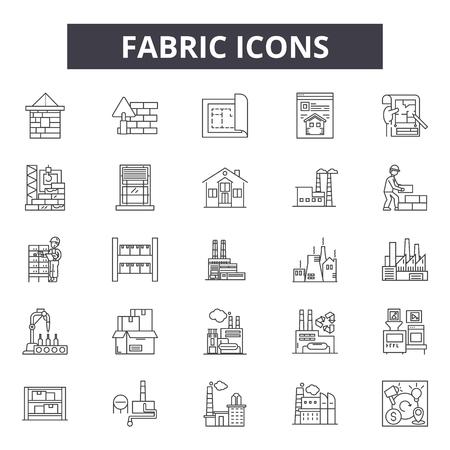 Illustration pour Fabric line icons, signs set, vector. Fabric outline concept illustration: fabric,textile,material,cotton,resistant - image libre de droit