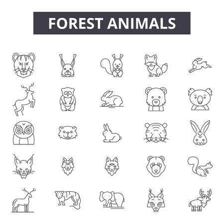 Illustration pour Forest animals line icons, signs set, vector. Forest animals outline concept illustration: animal,forest,wild,deer,fox,collection,bear - image libre de droit