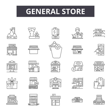 Illustration for General store line icons, signs set, vector. General store outline concept illustration: store,shop,general,retail,business,web - Royalty Free Image