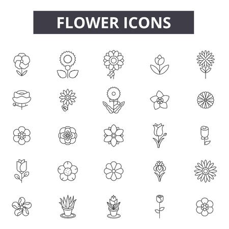 Illustration pour Flower line icons, signs set, vector. Flower outline concept illustration: flower,nature,spring,blossom,floral,summer,isolated,plant - image libre de droit