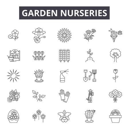 Illustration pour Garden nurseries line icons, signs set, vector. Garden nurseries outline concept illustration: nursery,garden,plant,sun,gardening - image libre de droit