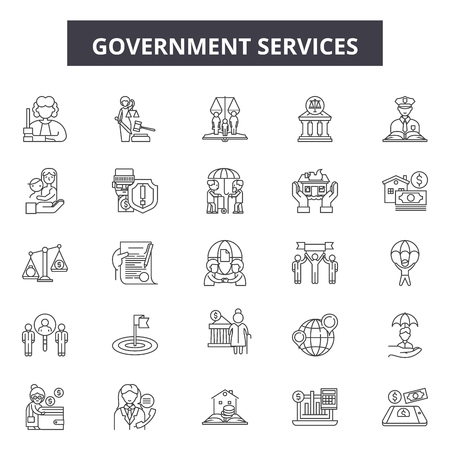 Ilustración de Government services line icons, signs set, vector. Government services outline concept illustration: government,service,business,education,administration,money - Imagen libre de derechos