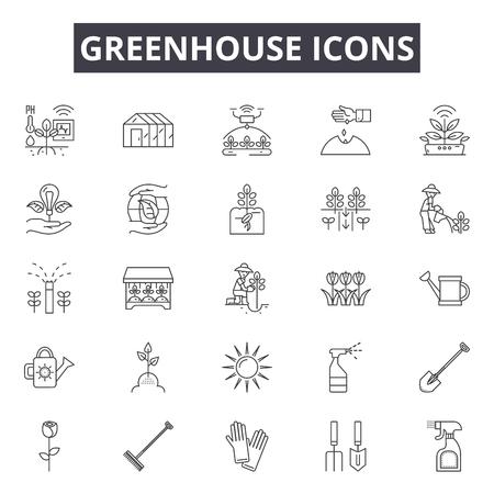 Illustration pour Greenhouse line icons, signs set, vector. Greenhouse outline concept illustration: greenhouse,plant,garden,organic,nature - image libre de droit