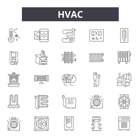Hvac line icons, signs set, vector. Hvac outline concept illustration: hvac,air,fan,ventilation,conditioning,climate,ventilator