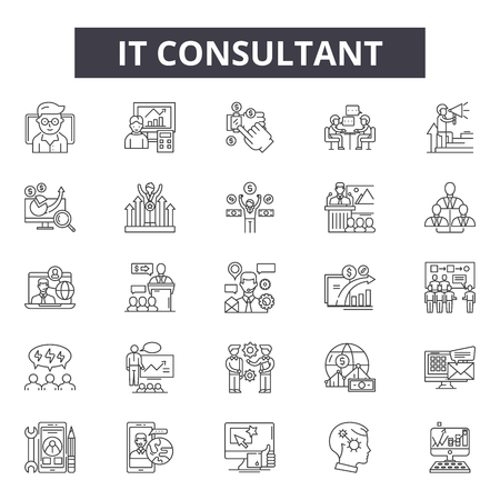 Illustration for It consultant line icons, signs set, vector. It consultant outline concept illustration: business,consulting,communication,support,service,team - Royalty Free Image