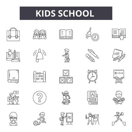Illustration pour Kids school line icons, signs set, vector. Kids school outline concept illustration: school,education,book,kid,bus - image libre de droit