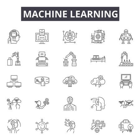 Illustration pour Machine learning system line icons, signs set, vector. Machine learning system outline concept illustration: system,data,technology,machine,intelligence,learning,science,information,business - image libre de droit