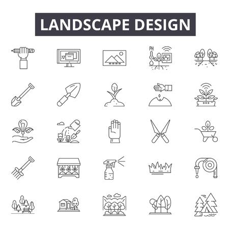 Ilustración de Landscape design line icons, signs set, vector. Landscape design outline concept illustration: delandscape,tree,plant,nature - Imagen libre de derechos