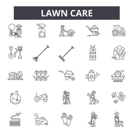 Ilustración de Lawn care line icons, signs set, vector. Lawn care outline concept illustration: care,gardening,lawn,plant,nature,garden,design - Imagen libre de derechos