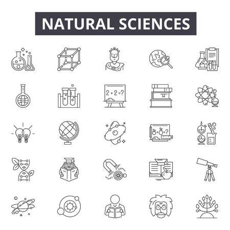 Ilustración de Natural sciences line icons, signs set, vector. Natural sciences outline concept illustration: science,nature,chemistry,research,technology,natural - Imagen libre de derechos