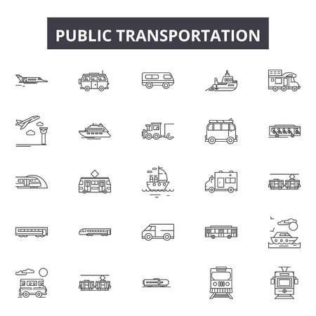 Public transportation line icons, signs set, vector. Public transportation outline concept illustration: bus,transport,car,train,transportation,public,vehicle,traffic