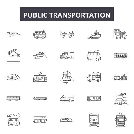 Public transportation line icons, signs set, vector. Public transportation outline concept illustration: bus,transport,car,train,transportation,public,vehicle,traffic