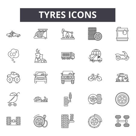 Ilustración de Tyres line icons, signs set, vector. Tyres outline concept illustration: tire,black,tyre,car,wheel,auto,isolated - Imagen libre de derechos
