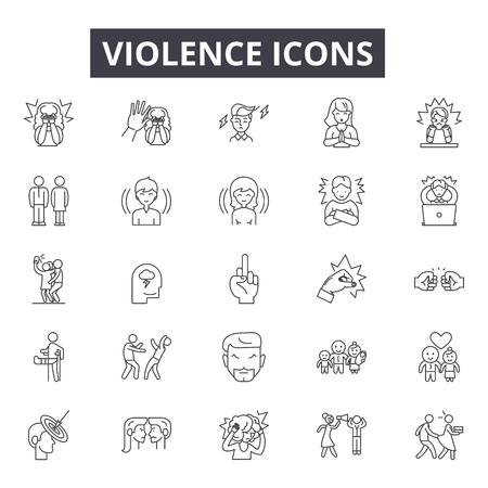 Illustration pour Violence line icons, signs set, vector. Violence outline concept illustration: violence,crime,people,hand,abuse - image libre de droit